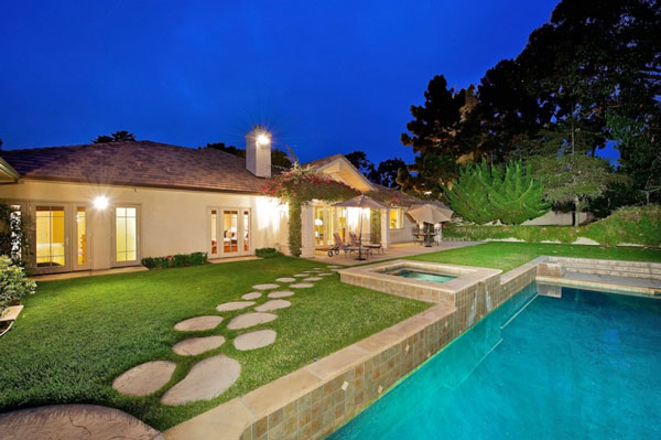 Grass Tennis Court In Backyard :  tennis court, huge yard and saltwater pool surrounded by manicured