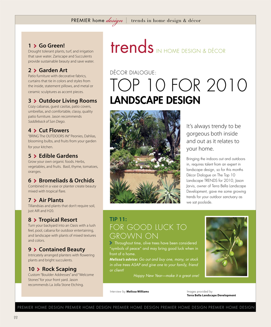 Premier trends in home design and d cor san diego premier for Premier landscape design